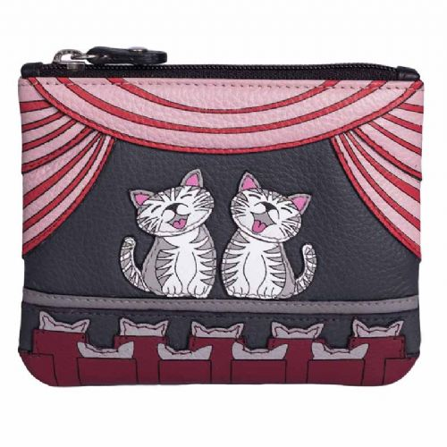 Mala Leather Cats the Meowsical Coin Purse with RFID protection